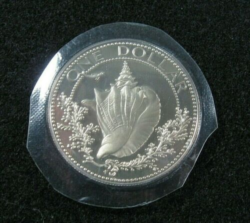 1974 BAHAMAS One (1) Dollar - Shell - Gem Proof - Sealed in mint plastic SILVER