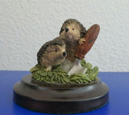 Delicate Country Artist Figurine with 2 Hedgehogs and Garden Spade 1994