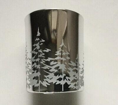 YANKEE CANDLE SHINY SILVER WINTER TREES VOTIVE/TEA LIGHT HOLDER HTF RETIRED ITEM