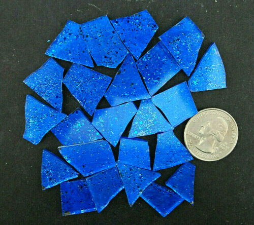 sale!100  HAWAII BLUE with glitter Colored glass pieces  by Makena Tile