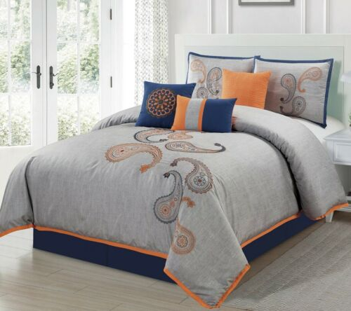 Chezmoi Collection 7-Piece Gray Navy Orange Paisley Embroide