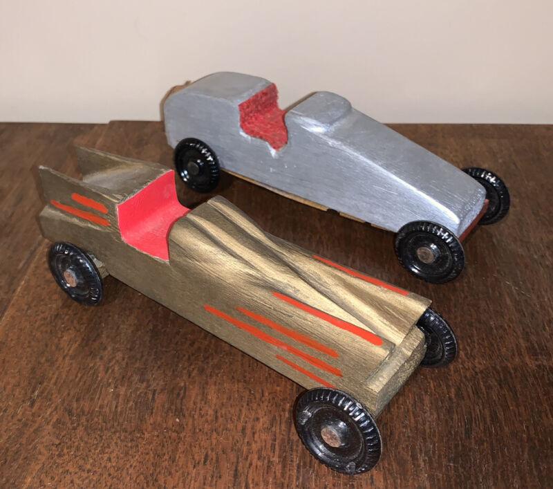 Vtg Lot of 2 Pine Wood Boy/Cub Scouts Soap Box Derby Race Cars Hot Rod 1960s Era
