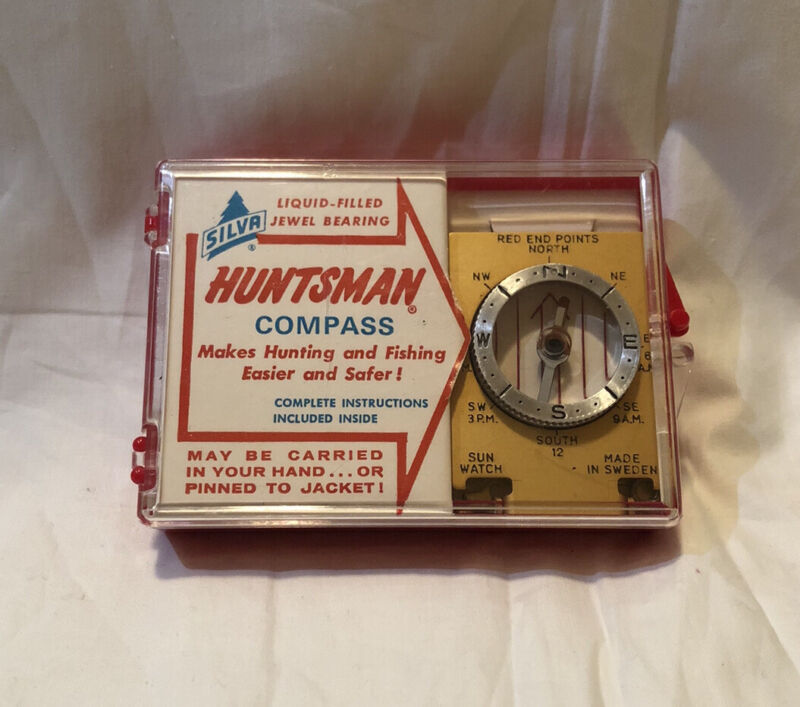 Vintage Silva Huntsman Liquid Filled Jewel Bearing Compass 1969 FREE SHIPPING