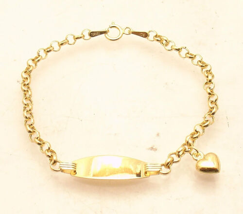 "6"" Childrens KIDS BABY ENGRAVABLE ID Heart TAG BRACELET REAL 14K YELLOW GOLD"