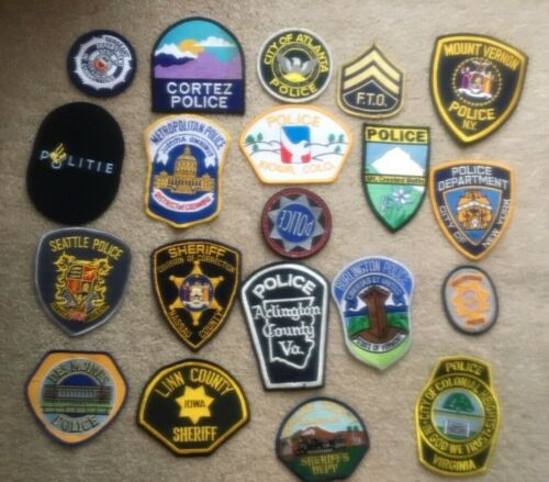 NICE LOT OF 20  LAW ENFORCEMENT PATCHES  PD-3