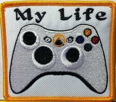 """""""MY LIFE"""" XBOX CONTROLLER Iron-On Patch Morale Funny Emblem Gold  Border, used for sale  Shipping to India"""