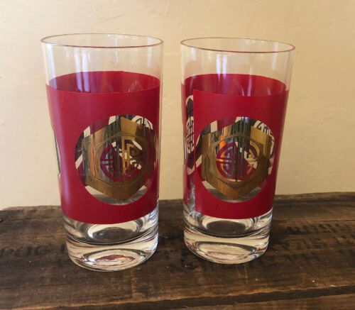 """Pair Of Vintage Red and Gold High Ball Tumbler Glasses Set Mid Century 5.5"""" Tall"""