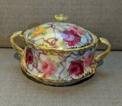 Cream Colored Lotus Pattern Made in Japan Flowers Lidded Sugar Holder Crest Wood Ivory China Sugar Bowl with Lid Floral Porcelain