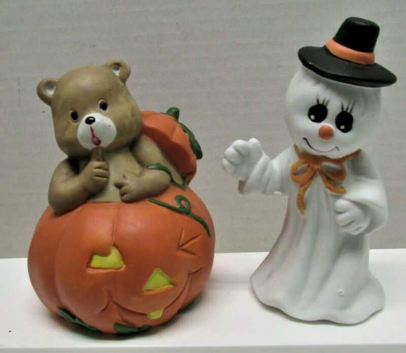 2 Vtg Halloween Porcelain Ghost In Hat & Bear in Jack-O-Lantern Figurines