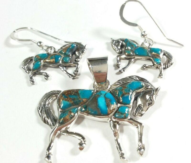 925 STERLING SEGMENTED MATRIX TURQUOISE EARRINGS & PENDANT HORSES MATCHING SET