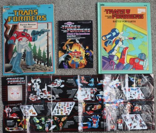 Vintage 1985 Transformers Coloring Book Picture Book Chapter Book Checklist LOT!