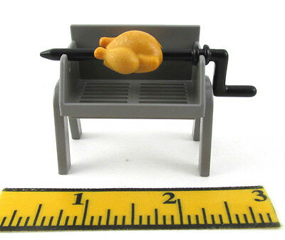 PLAYMOBIL~Grey~BBQ Grill~With Rotisserie Spit~Chicken~City Life~Picnic~Camping