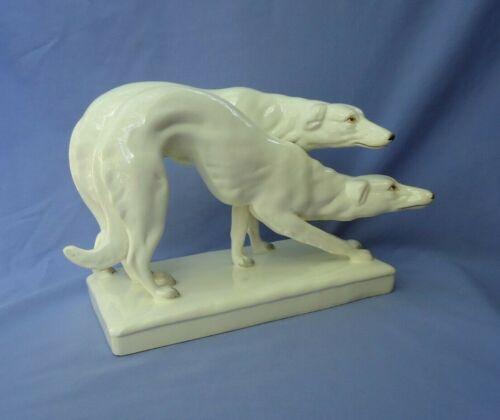 """12"""" ART DECO BORZOI PAIR CZECHOSLOVAKIA ROYAL DUX DOGS"""
