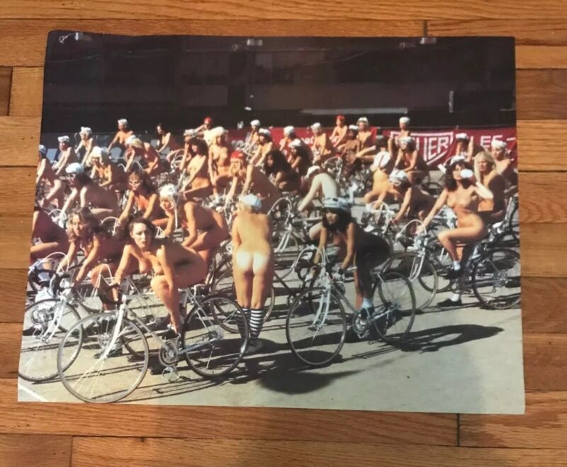 """1987 NEW YORK CITY CHARITY NUDE BIKE RACE POSTER 16""""x20""""  BE THERE BE BARE ..."""