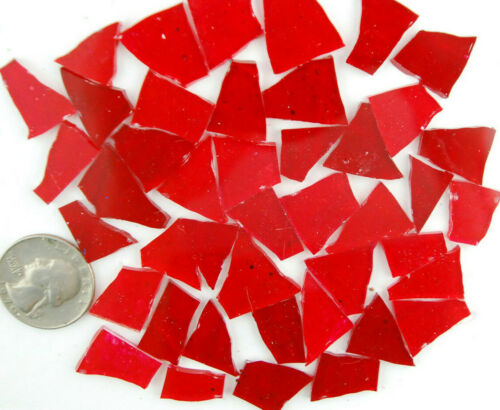 100 MIXED RED Colored glass pieces by Makena Tile