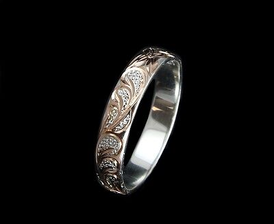 Ring - 4MM ROSE GOLD PLATED SILVER 925 HAWAIIAN PLUMERIA SCROLL BAND RING SIZE 1 TO 12