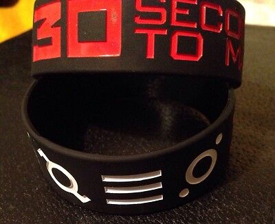 30 SECONDS TO MARS BLACK EMBOSSED WRISTBAND 30STM