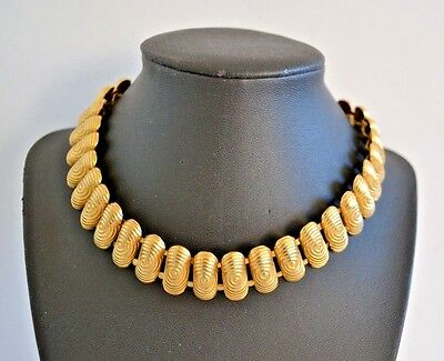 Vintage 70s Disco Petite Gold Link Choker Necklace Glam Psychedelic Vector 1970s - Vector Costume