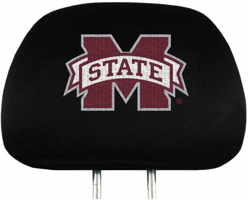 "FANMATS Mississippi State University Head Rest Cover Set, Black, 14"" x 10,..."