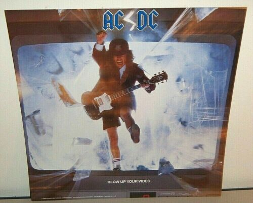 1988 AC/DC BLOW UP YOUR VIDEO CARDBOARD PROMO POSTER FLAT