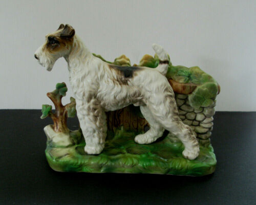 VIntage Large Wire Fox Terrier Dog Figurine ...Signed