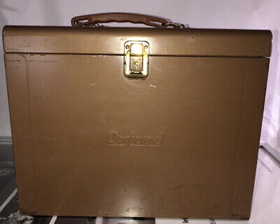Vintage Brown Oxford Portable File Cabinet Metal Case Box Office Industrial
