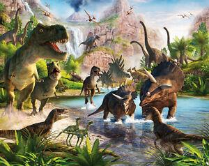 Walltastic Fototapete 3D Optik Dinosaurier Dinos Urzeit Raumtapete Tapete NEU