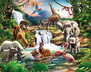 Fototapete Dschungel Tiere Afrika Kinderzimmer Wandbild Wanddeko Wandtapete Löwe