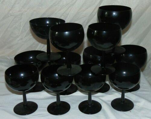 12 Vintage  Black Bubble Amethyst Wine Champagne Goblets Glasses Stems