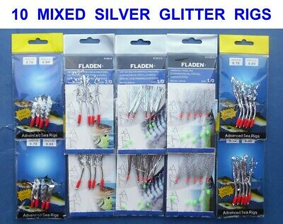 10 NEW MIXED SILVER MACKEREL FEATHER RIGS SEA FISHING TRACES POLLACK COD LURES