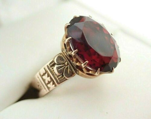 Antique Victorian 10k Solid Rose Gold Garnet Colored Glass Stone Ring Sz 7