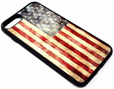 For iPhone 7+ / 8+ PLUS - VINTAGE AMERICAN FLAG HARD RUBBER SILICONE CASE COVER