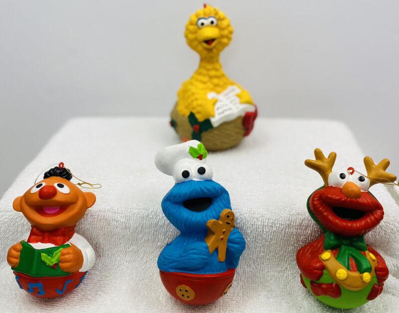 Vintage Muppets Christmas ornaments, Big Bird, Cookie Monster, Ernie & Elmo.