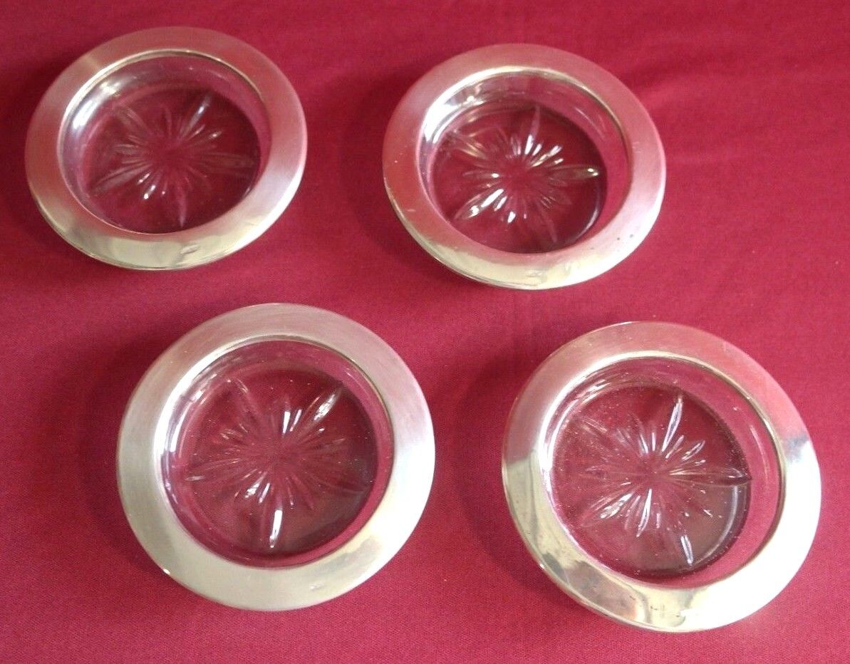 Vintage Sterling Silver Rimed Starburst Glass Crystal Coaster Set Of 4 - $59.99