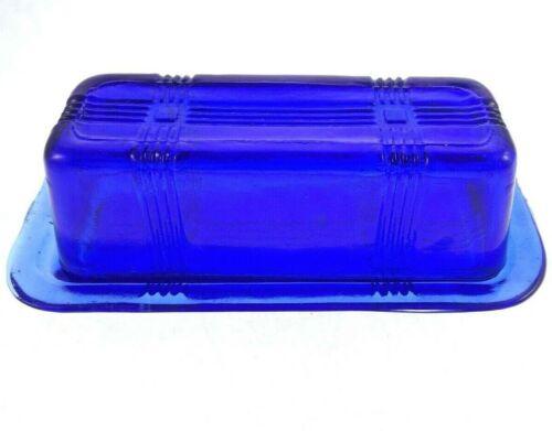 Hazel Atlas Vintage Criss Cross Butter Dish Cobalt Blue Glass 1 Stick 1/4 Lb