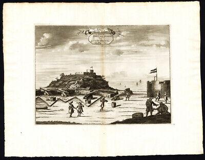 Rare Antique Print-GOREE-GOEREE ISLAND-FORT NASSAU-SENEGAL-Van der Aa-1725