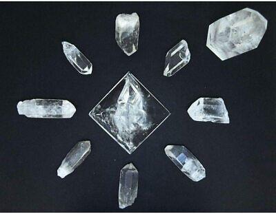 Parrilla de Reiki Cuarzo Blanco Maestro Puntas Bruto Pirámide Completa Cristales