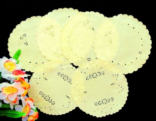Set 6 Antique YELLOW Hand-Embroidered Eyelet Wine / Tea Coasters MADEIRA DOILIES
