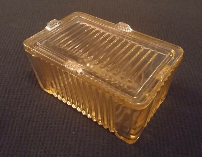 Vintage Depression Glass Box With Lid Champagne Color Soapbox