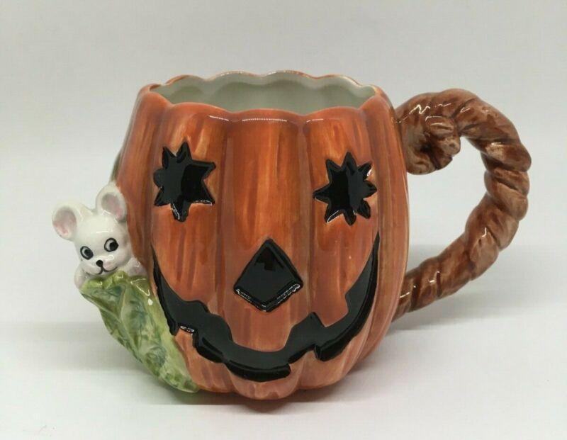 Fitz & Floyd vintage Halloween 1989 jack-o-lantern pumpkin & mouse Coffee Mug