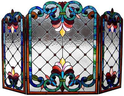 Copper Victorian Fireplace Screen - Stained Glass Chloe Lighting Victorian 3 Panel Folding Fireplace Screen 44