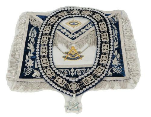 MASONIC PAST MASTER APRON %100 LAMBSKIN & COLLAR WITH JEWEL