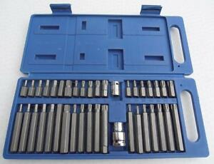 40Pc,Torx Star Spline Hex Socket Bit Set. 3/8 And 1/2 Drive