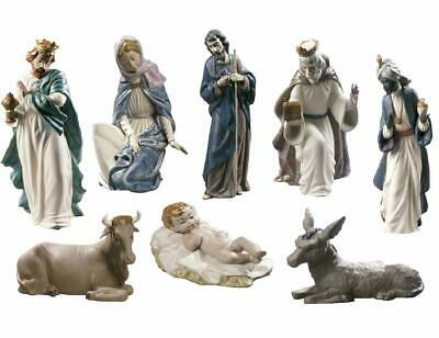 NAO BY LLADRO 8-PIECE GRES PORCELAIN NATIVITY SET BRAND NIB CHRISTMAS SAVE$ F/SH Lladro Gres Figurines