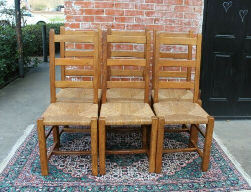 Set of 6 Country French Antique Ladderback Oak Rush Seat Chairs