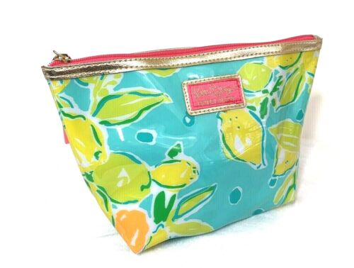 Lilly Pulitzer for Estee Lauder Plastic Make Up Cosmetic Bag Gold Trim Pouch NEW