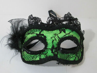 Black And Green Masquerade Mask (Fancy Green and Black Lace Feathers Mask Masquerade Party Mardi Gras)