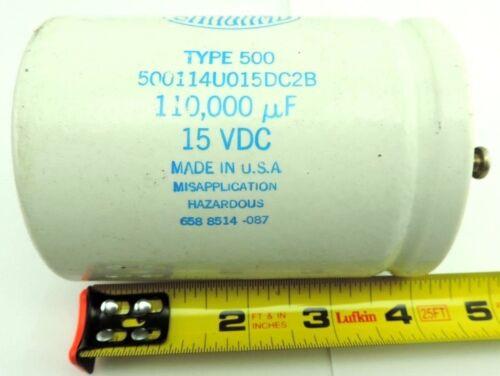 Sangamo 500114U015DC2B Capacitor 110,000uF Type 500 15 VDC from ABB Motor Drive