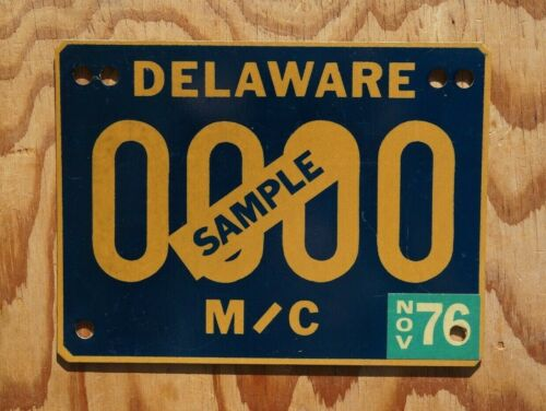 1976 Delaware MOTORCYCLE Sample License Plate