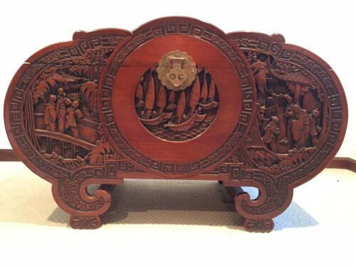 Large Antique Chinese Camphor Chest Intricately Carved Camel Backed 3 Humps
